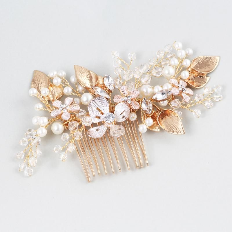 333c2b544 Exquisite Comb For Women Gold Leaf Bridal Hair Piece Jewelry Pearls Wedding  Accessories Hair Combs