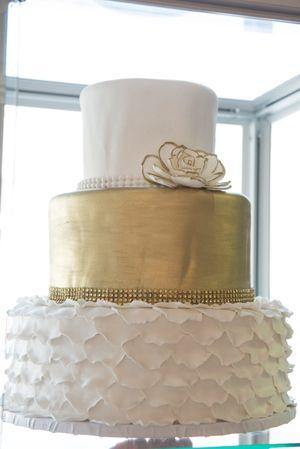 Gold And White Oakmont Bakery Wedding Cake
