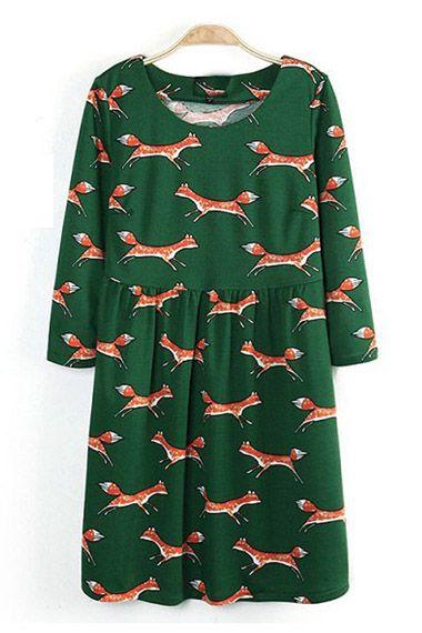 Cute Fox Printing Fashion Dress