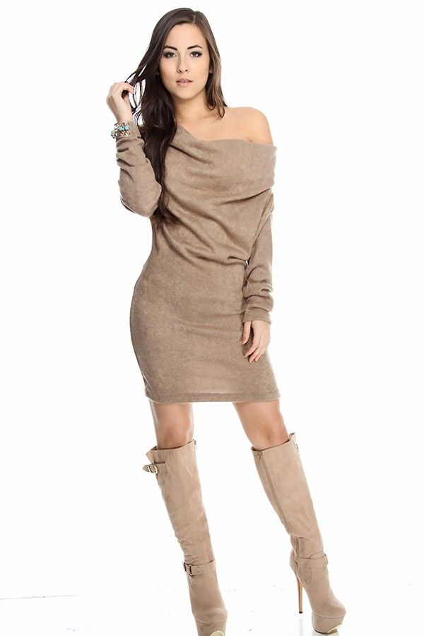 Asymmetrical sweater dress cut with a loose fit, slouchy off ...