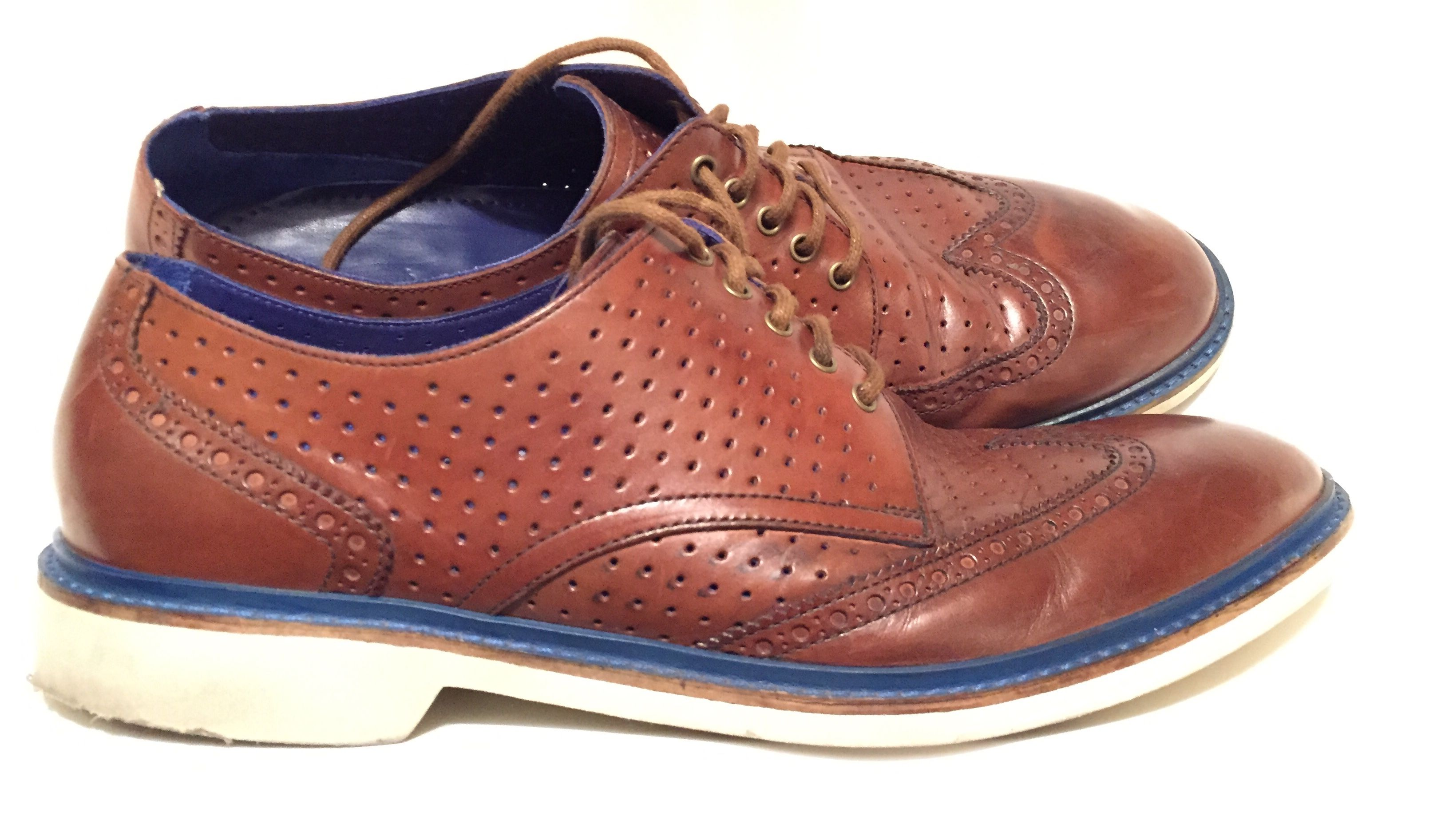 Cole haan brown perforated dress shoes men oxford shoes