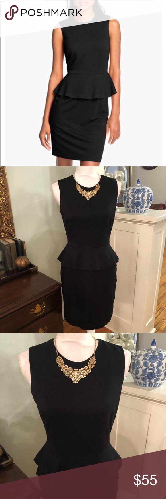 Vince Camuto Black Sheath Dress Sleeveless Peplum Black Sheath Dress Clothes Design Fashion [ 1740 x 580 Pixel ]