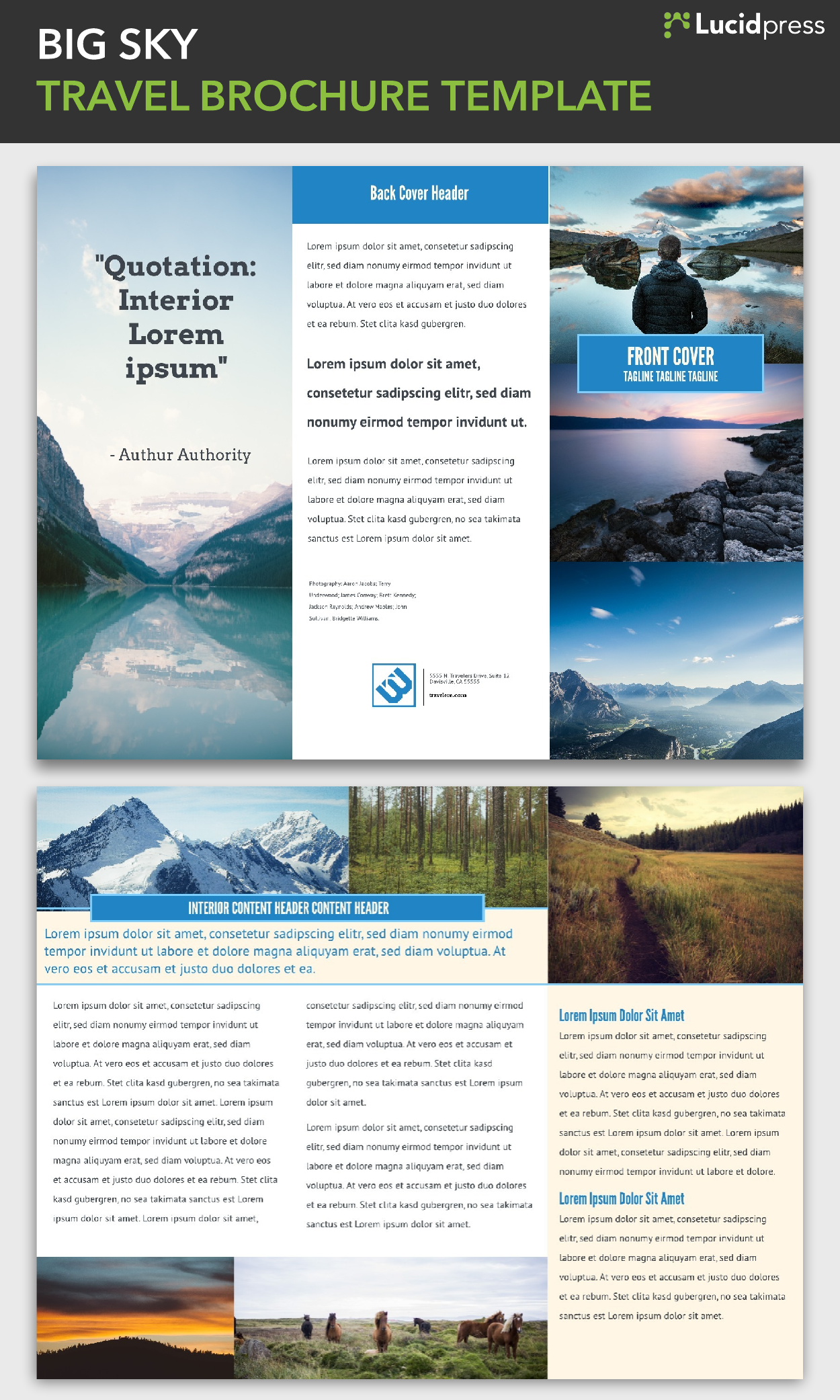 Big Sky TriFold Brochure Template  Via Lucidpress  See More