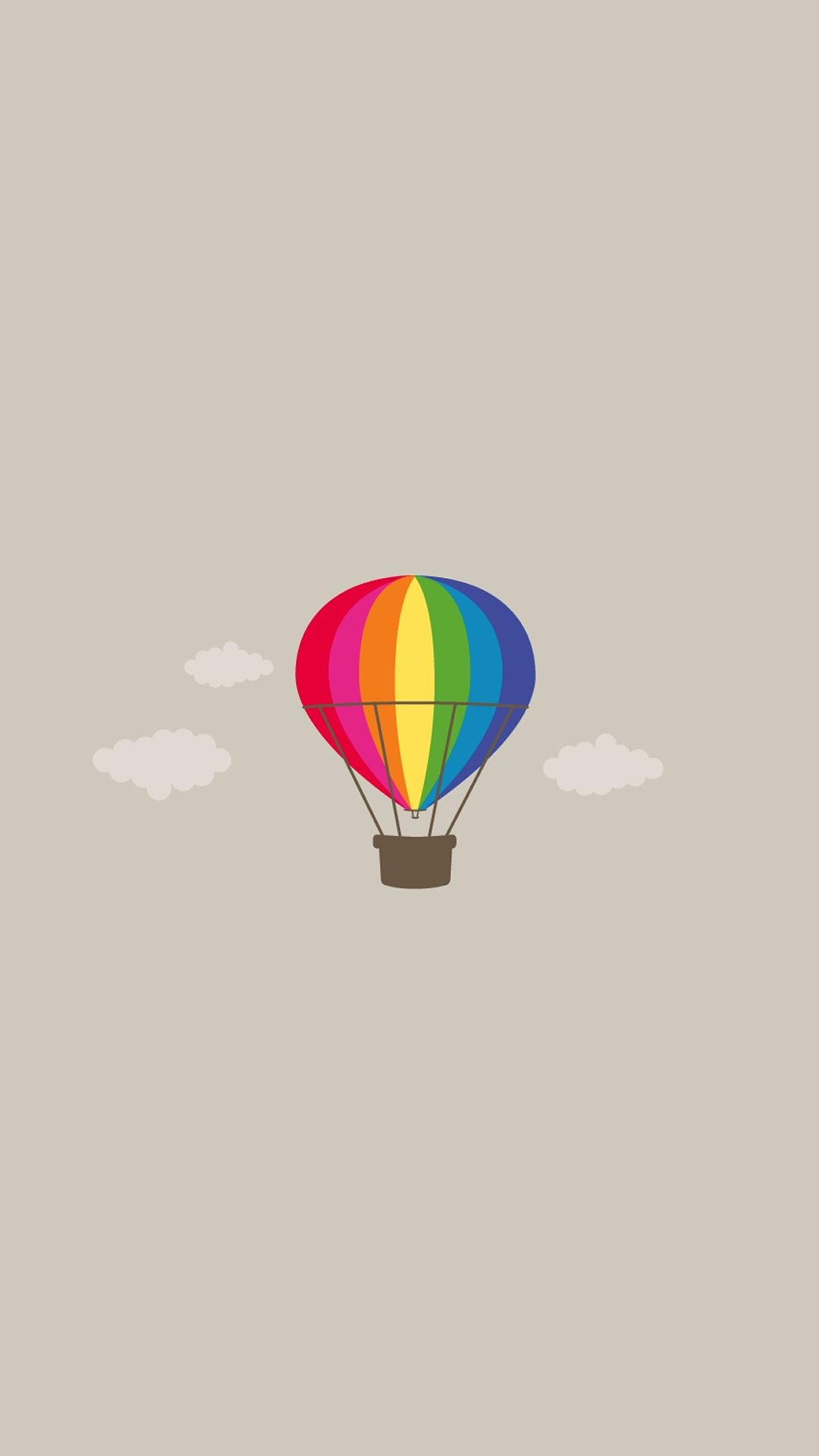 Simple Pure Hot Air Balloon Illustration Background Iphone