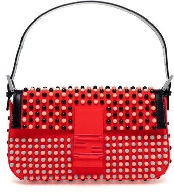 43cc82963bf2 Fendi Baguette Studded Neoprene Shoulder Bag - Lyst