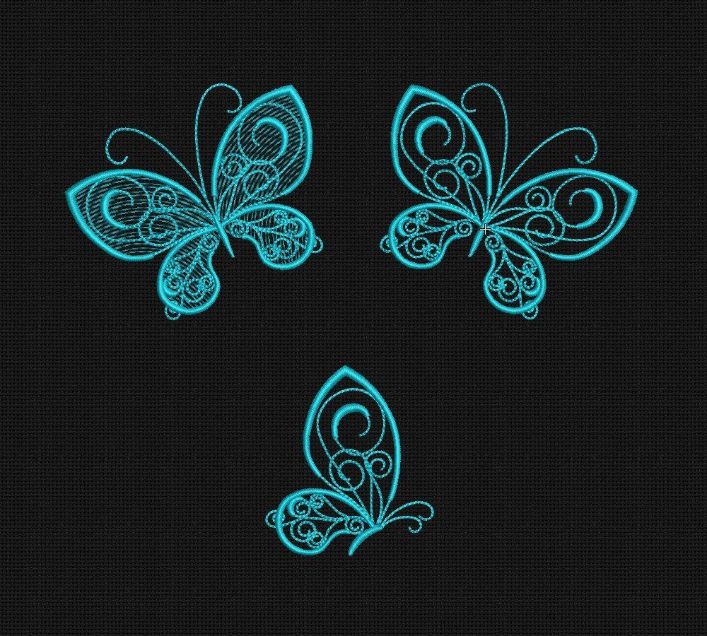 embroidery designs Butterflies three embroidery hoop 4 x 4