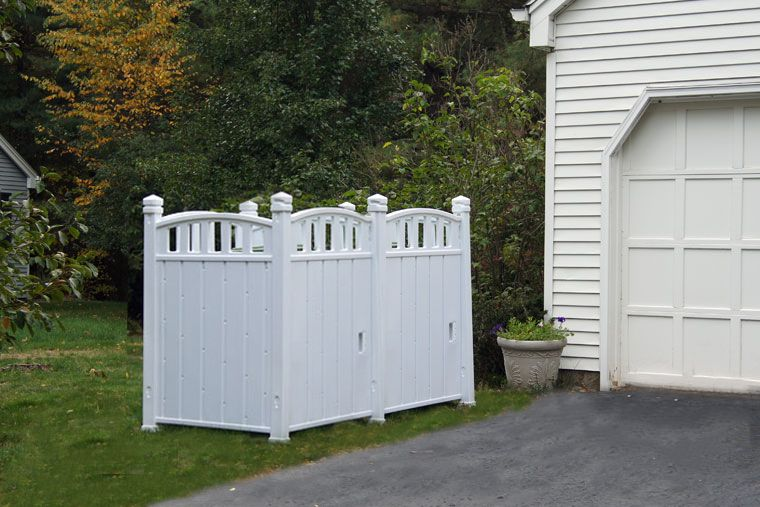 Superb This Storage Shed Hides 96 Gallon Bins.