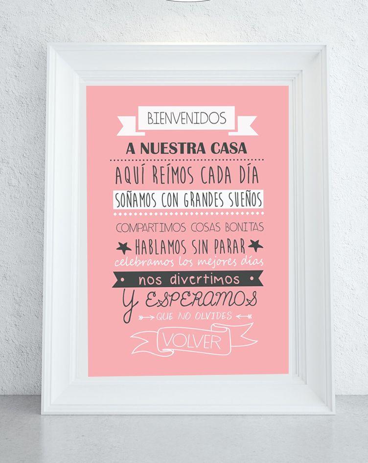 Lamina Bienvenido Rosa Frases Sobre El Hogar Bienvenido A Casa