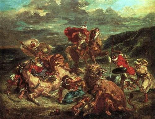 Lion Hunt - Eugene Delacroix - Completion Date: 1861