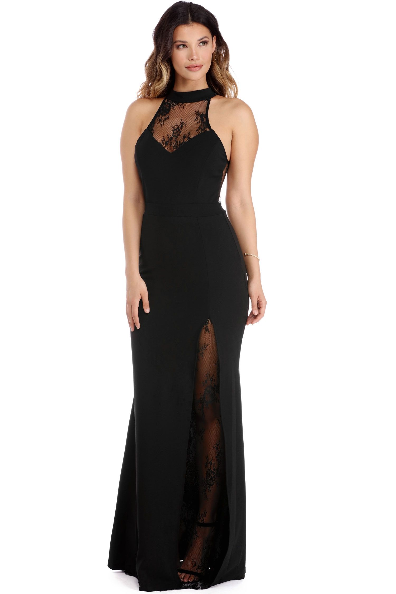 FINAL SALE - Kia Black Lace Crepe Dress