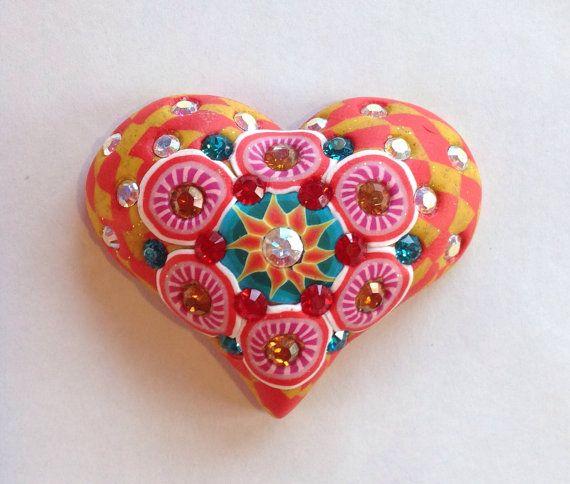 Billie Beads Millefiore Heart with Swarovski by BillieBeads