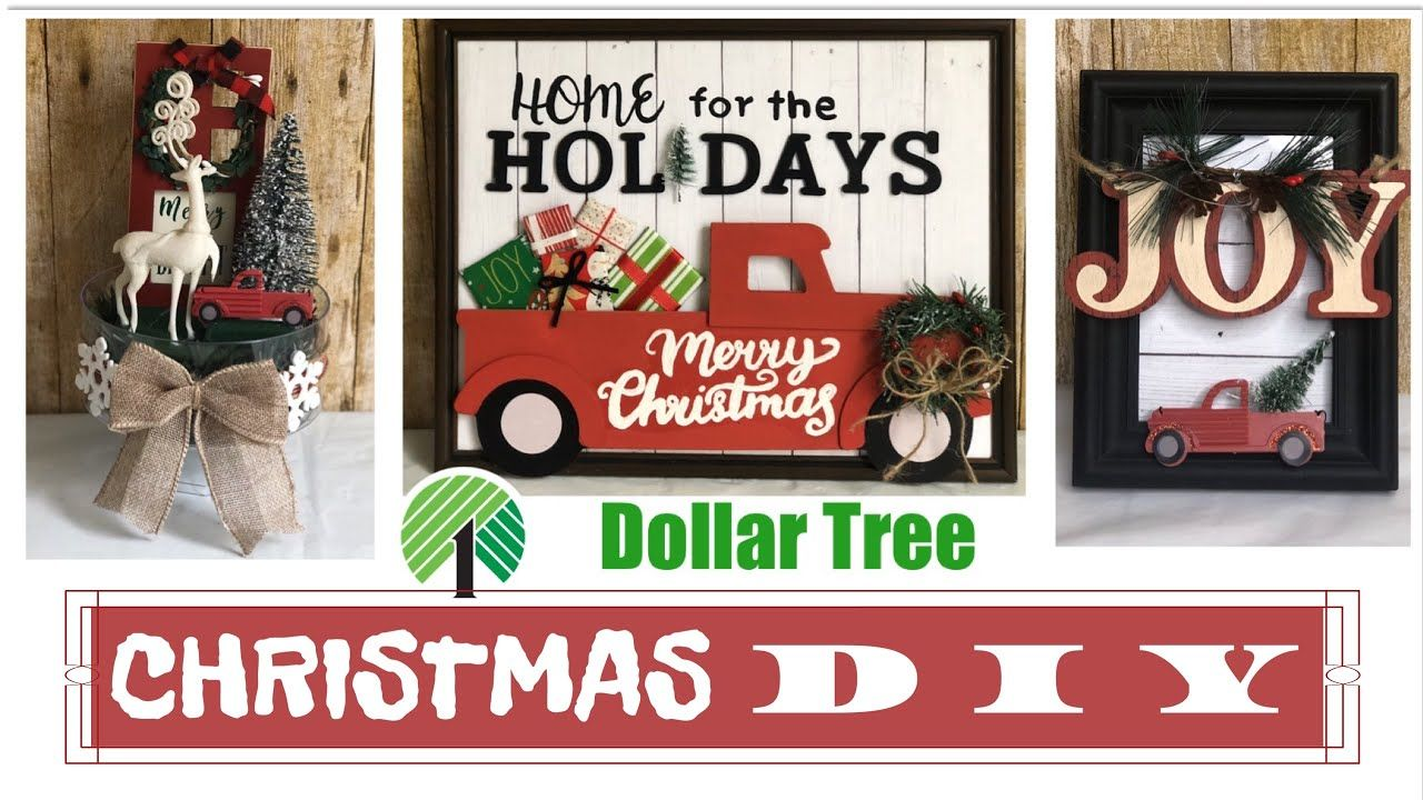 DOLLAR TREE CHRISTMAS DIYS | Little Red Truck | Farmhouse Decor - YouTube #dollartreecrafts
