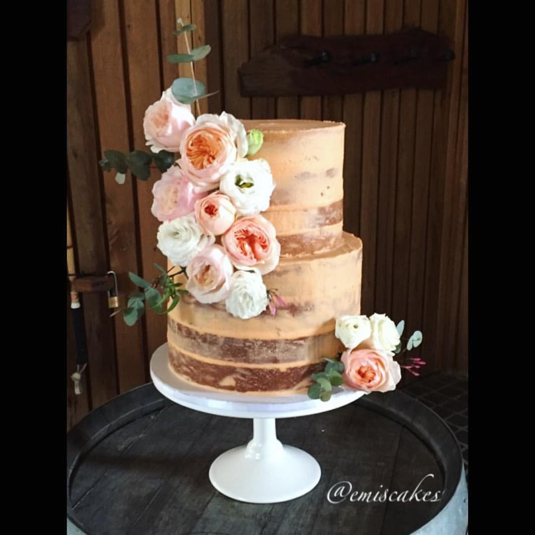 Peach Semi Naked Cake Fresh Flowers