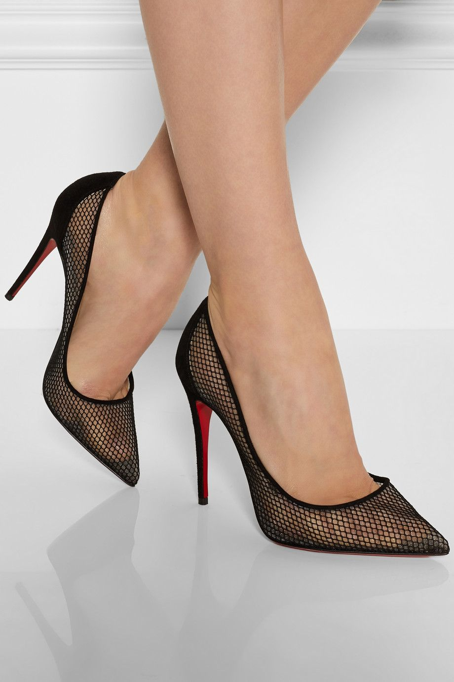 christian louboutin follies resille 100 suede trimmed. Black Bedroom Furniture Sets. Home Design Ideas