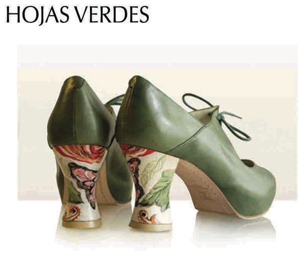 c5bc94c9 ZAPATO BAILE FLAMENCO BEGOñA CERVERA MODELO HOJAS VERDES | Flamencoymas.com