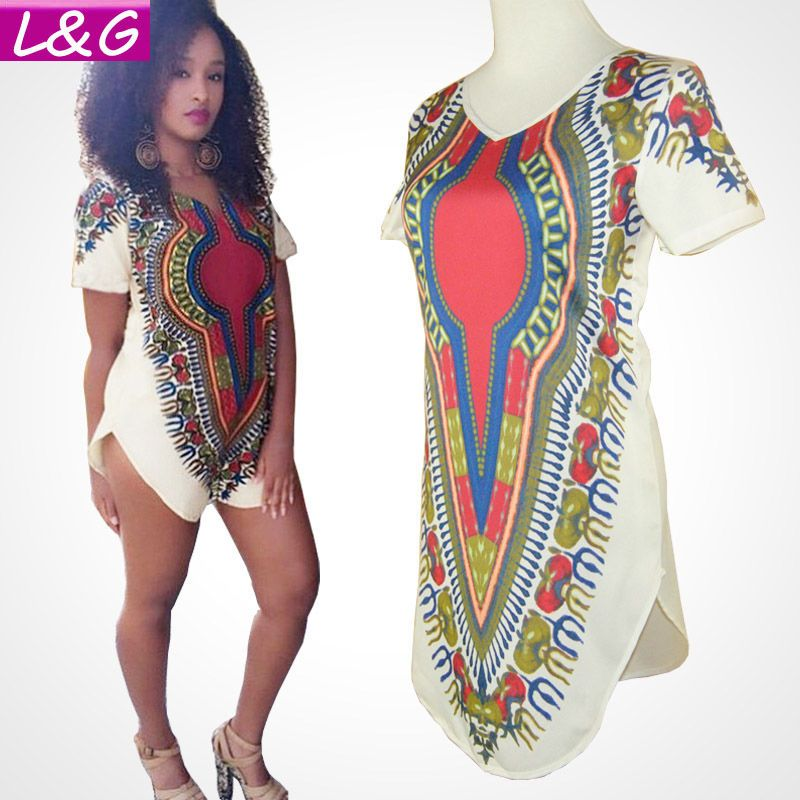 Women Traditional African Print Dashiki Party Dresses Short Sleeve ...