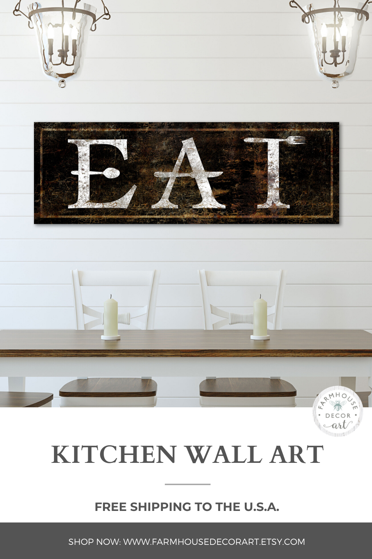 Rustic Kitchen Wall Decor Faux Metal Rusty Eat Sign Vintage Etsy In 2021 Rustic Kitchen Wall Decor Kitchen Wall Decor Modern Farmhouse Decor
