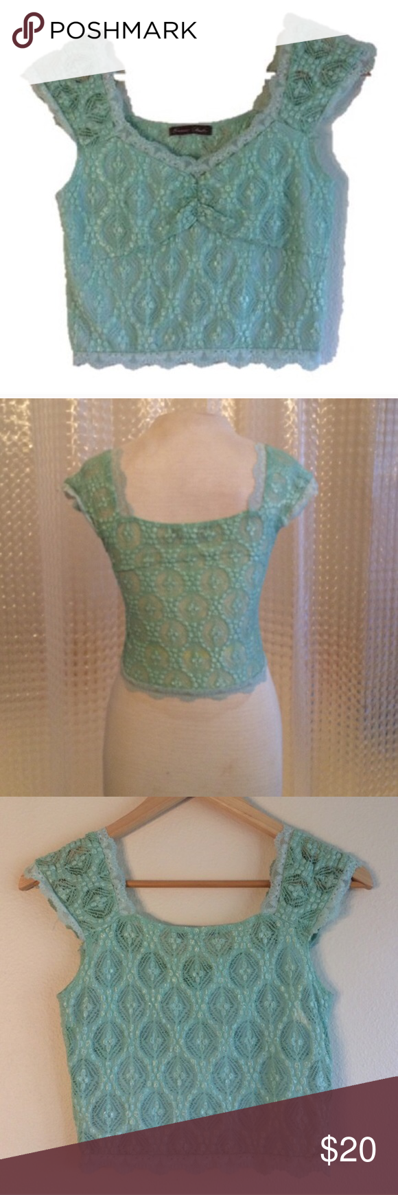 Powder blue lace crop top NWOT This adorable crop top is Size small/xs. Liner in front of shirt but not back. Lace detail sleeves Have questions on the size? Ask! I'm happy to provide all measurements! NO TRADES! Fast shipping! No swaps! Tops Crop Tops