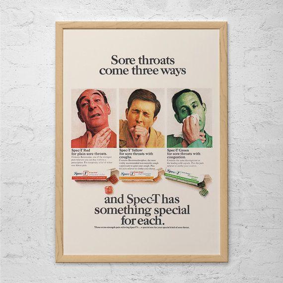 vintage kitsch ad retro kitsch cough medecin poster classic