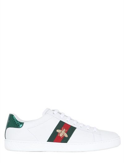 b0726168e GUCCI New Ace Embroidered Bee Leather Sneakers, White. #gucci #shoes # sneakers