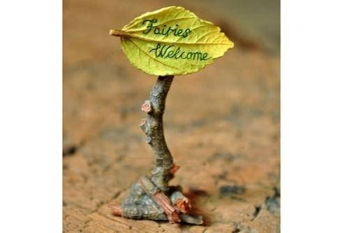Fairies Welcome Sign Miniature Dollhouse FAIRY GARDEN Accessories