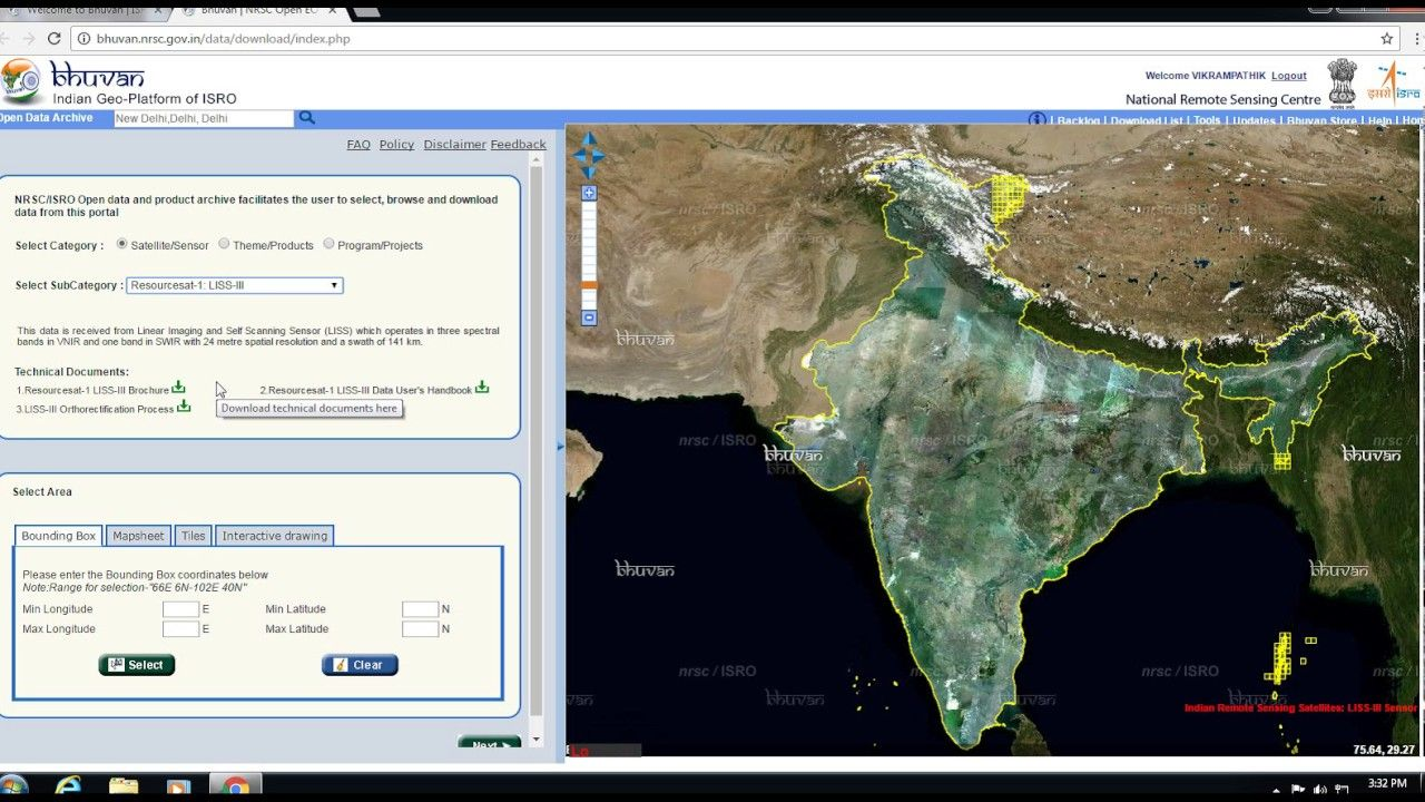 Free Satellite Images (LISS III) Download from ISROs