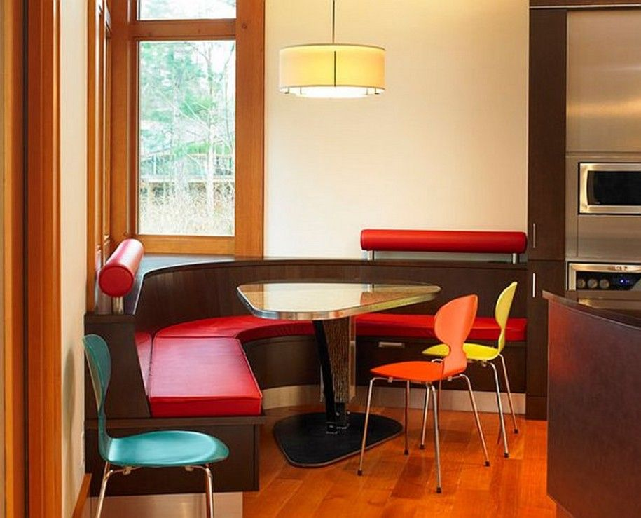 l shaped red dining table bench with triangle table for my husband and his breakfast - Dining Room Table With Corner Bench