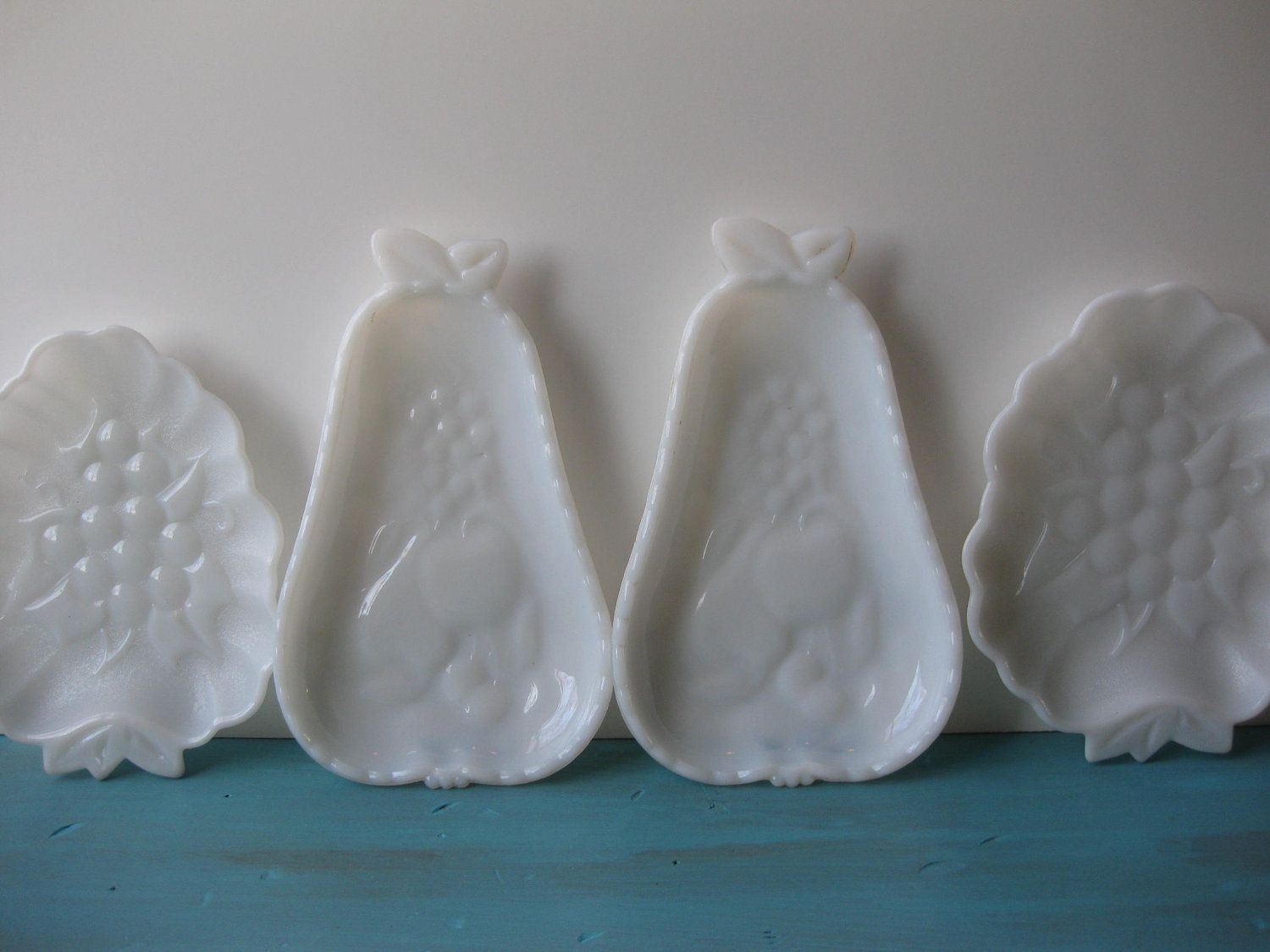 Vintage Milk Glass Fruit Dishes Set of Four by mymilkglassshop, $16.50
