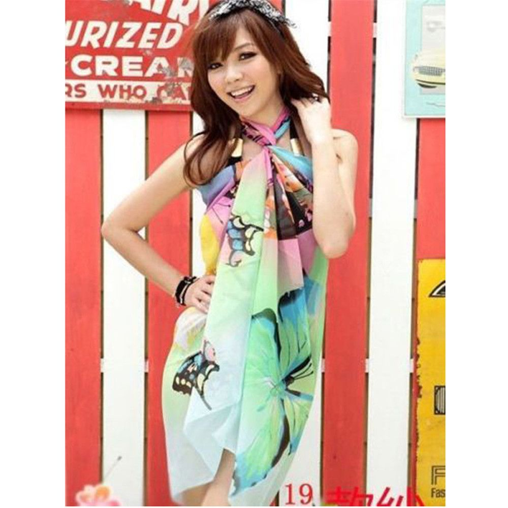52ae0052acaa9 Sexy Women Chiffon Bikini Cover Up Beach Swimwear Sarong Wrap Dress Scarf  Pareo