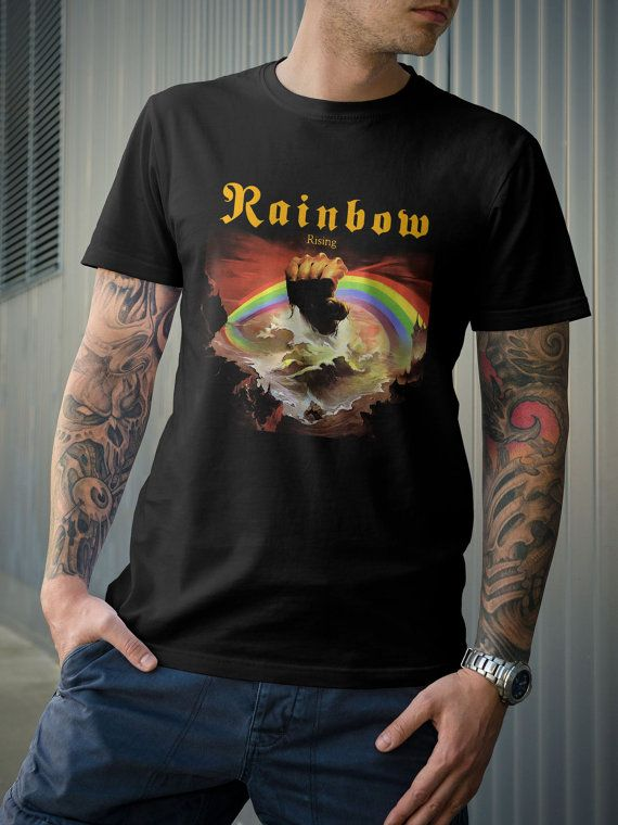 8b7ca7b4 Rainbow Rising Album Dio Zozo 70's Rock Band TShirt by 21street, $16.99