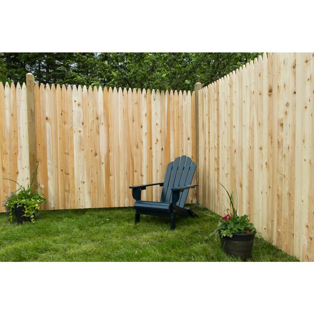 6 Ft H X 8 Ft W Privacy Eastern White Cedar Moulded 3 In Stockade Pointed Picket Fence Panel 235681 The Home Depot In 2020 Backyard Fences Fence Options Fence Prices