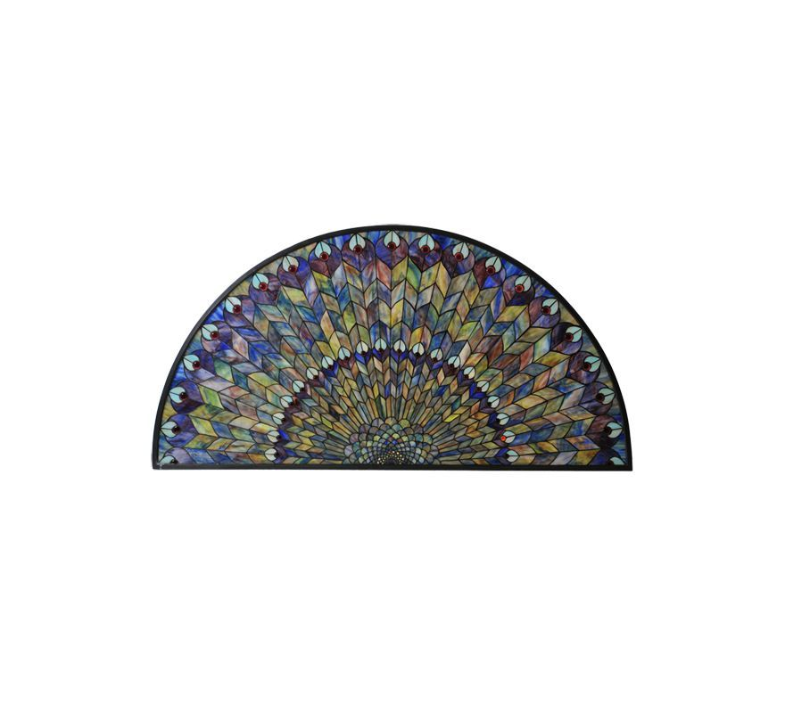 Meyda Tiffany 73005 Tiffany Half Round Stained Glass Window Pain from the Peacoc Bronze Home Decor Wall Decor Stained Glass Panels
