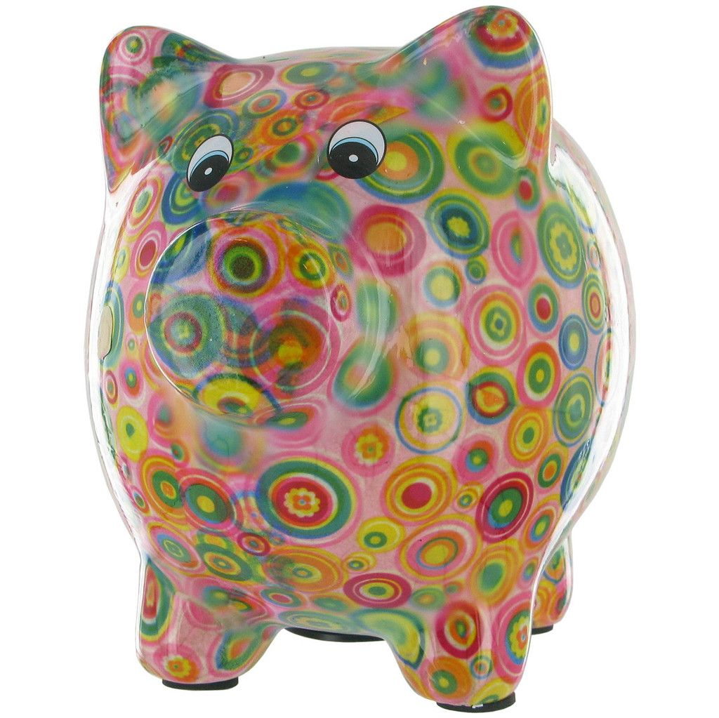 Pomme Pidou Pixie Pig Animal Money Bank  Pink Circles