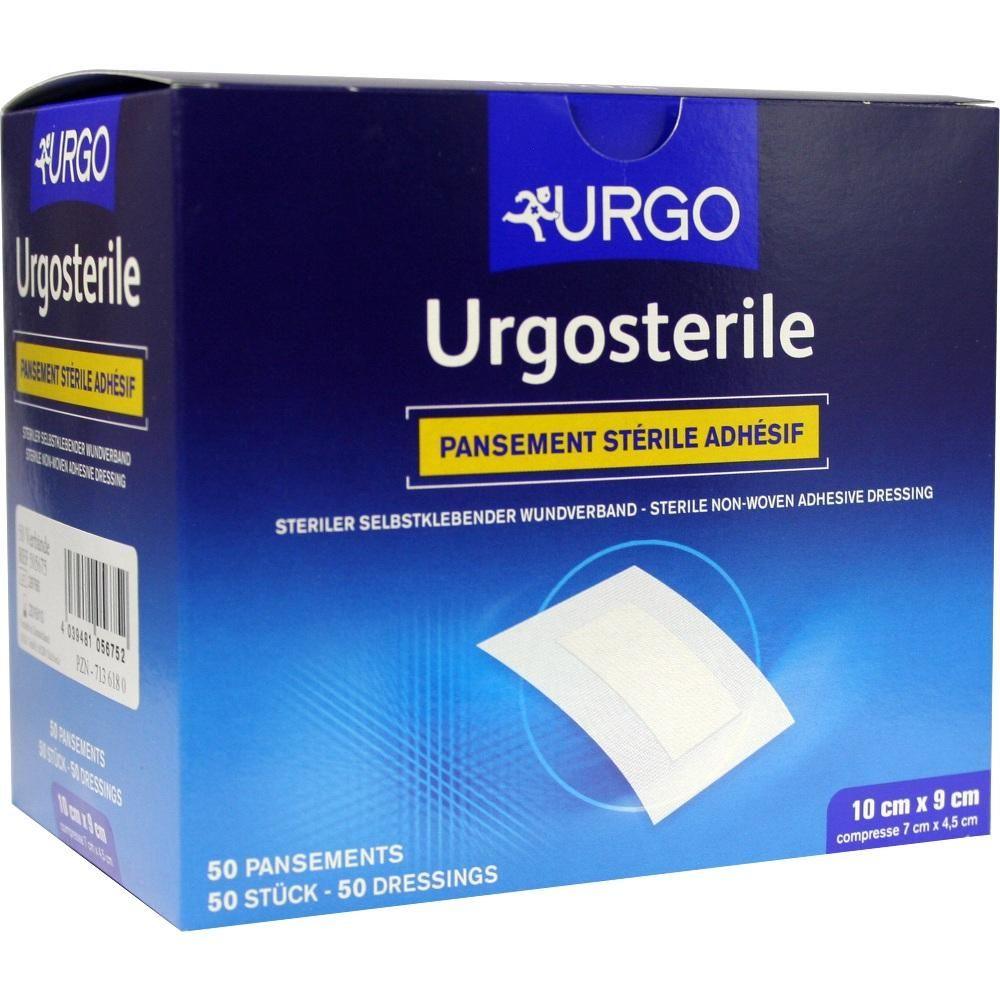 URGOSTERILE Wundverband 90x100 mm steril:   Packungsinhalt: 50 St Pflaster PZN: 07136180 Hersteller: Urgo GmbH Preis: 55,32 EUR inkl. 19…