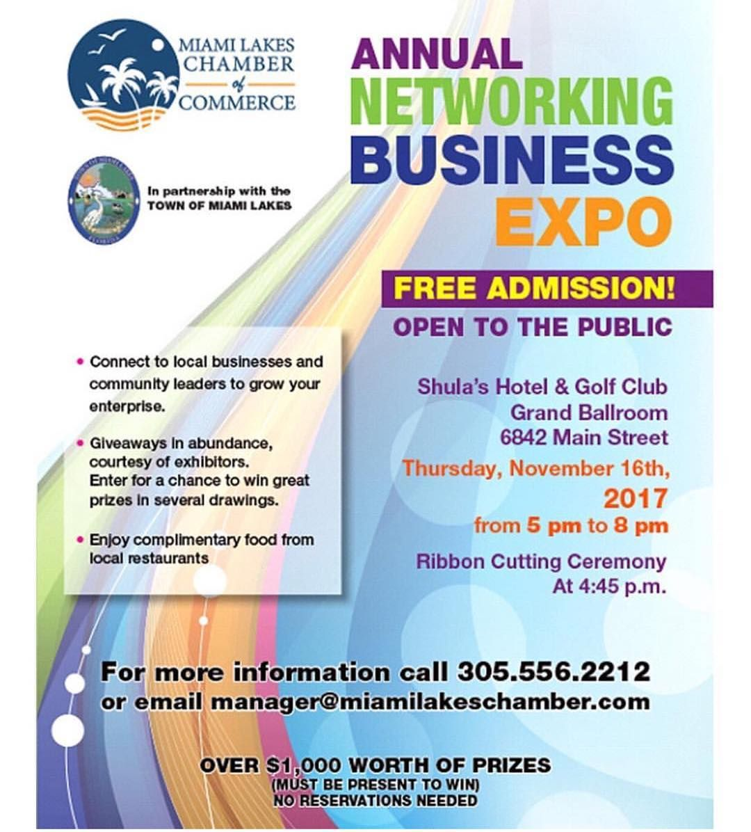 The Date Is Near Dont Forget To Join Us This Thursday November 16th At The Miamilakeschamber Annual Networking Business Exp Free Admission It Network Broward