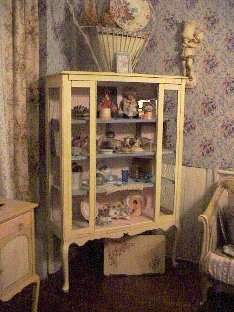 Vintage 1930s Dining Room Cabinet Chicken Wire Sides Shabby Cottage Farmhouse Painted Furniture