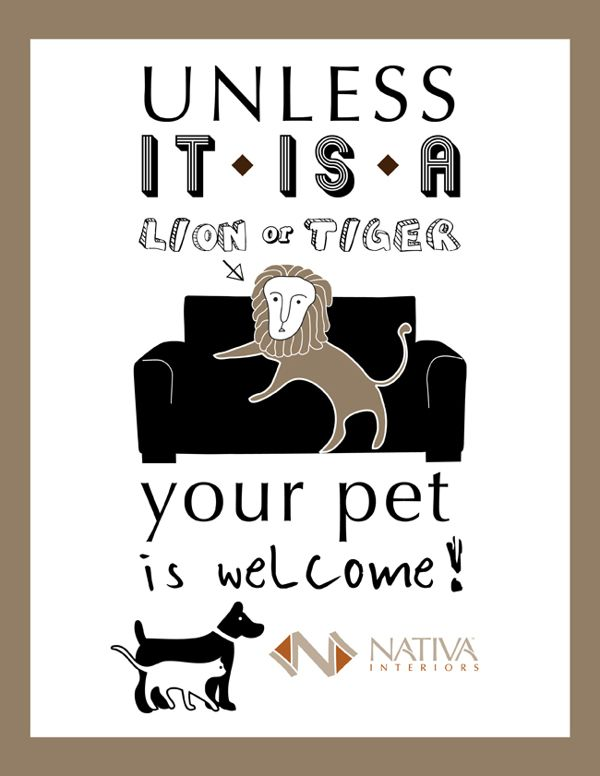 Welcome Pet Sign by Ka Man Lee, via Behance
