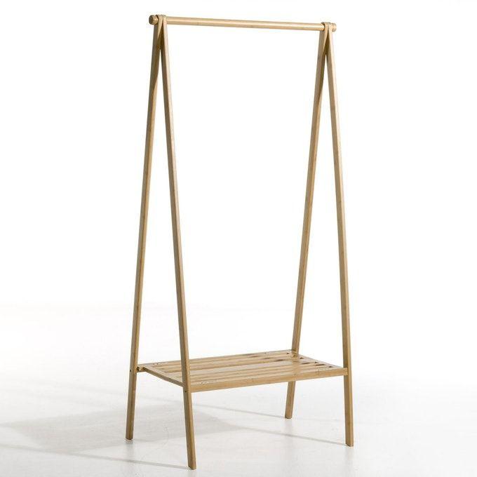Bamboo Folding Clothes Rack with Shelf #clothingracks