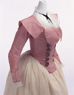 Jacket, c. 1790, France. Jacket of red and white striped plain silk with silver-colored buttons; fold-back collar. KCI # AC9113 94-11-2.