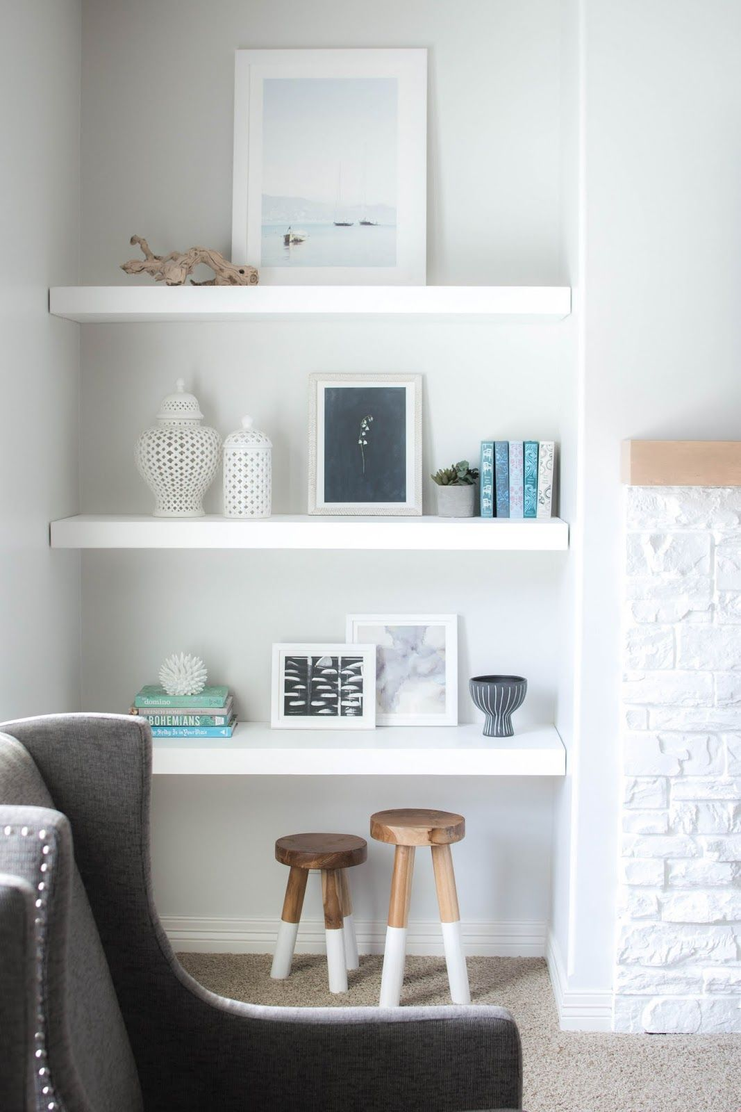 Styling Floating Shelves With Minted Art & Neutral