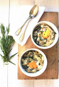 Baked eggs with beetroot leaves, leeks,  & cottage cheese
