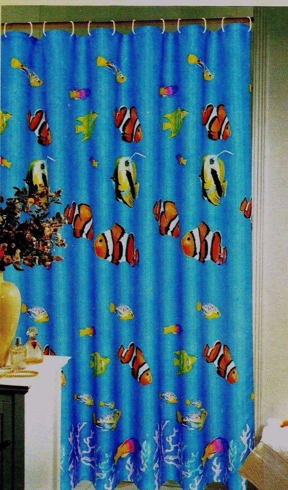Popular Bath WaterColor Aquarium Tropical Fabric Shower Curtain 70x72 Multicolor PopularBath