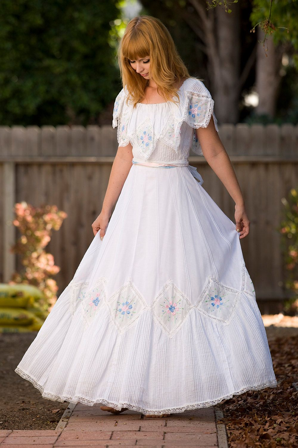 1960's Embroidered Mexican Wedding Dress | Wedding, Gowns and ...