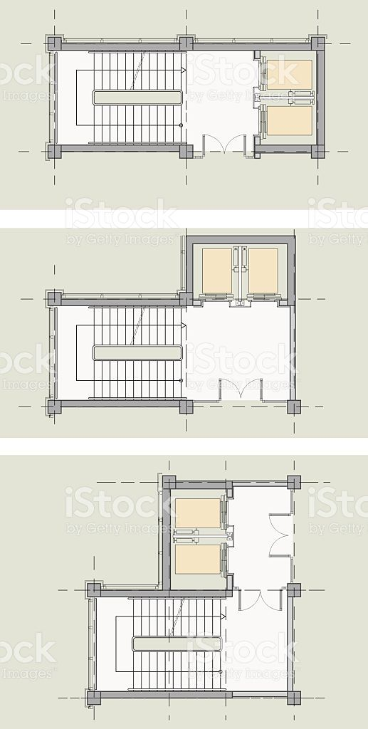 Elevator Stairs Core Types Plan مصعد Architecture