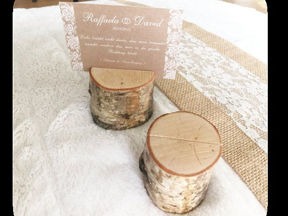 wood rustic wedding place card holder by