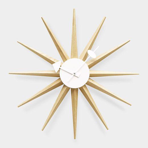 A Reproduction Of The Original Mid Century Sunburst Clock Designed