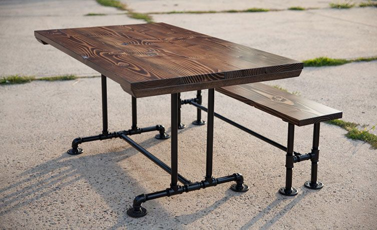 Solid Wood Industrial Farmhouse Table. Industrial Pipe Legs. Metal Table  Legs. Metal Table Base. Dark Walnut Stain With Matching Bench.