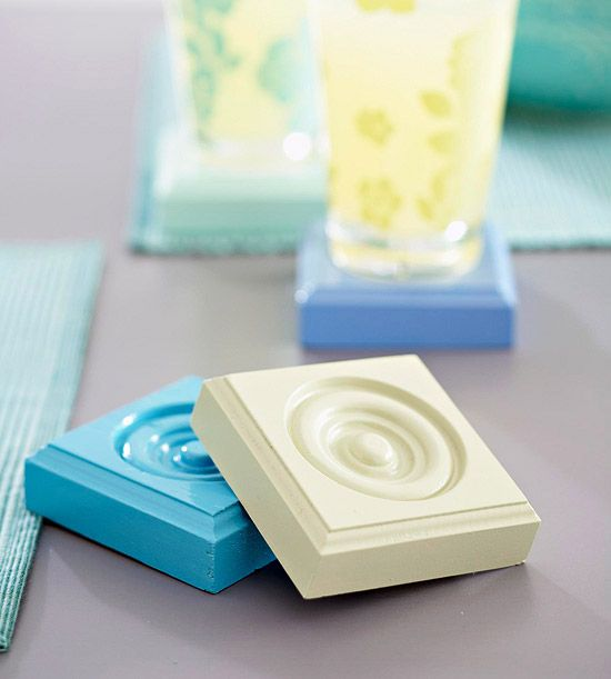 Play with Coasters  Leftover spray paint is perfect for making these coasters. Purchase corner blocks in the molding section of a home center and set the pieces on small cans for spraying. For durability, spray the painted blocks with polyurethane.