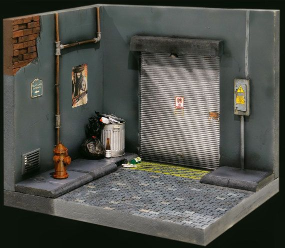 1 12 Scale Handmade Street Diorama 2 For 6 Inch Figures Incl Toy Garage Miniatures Diorama