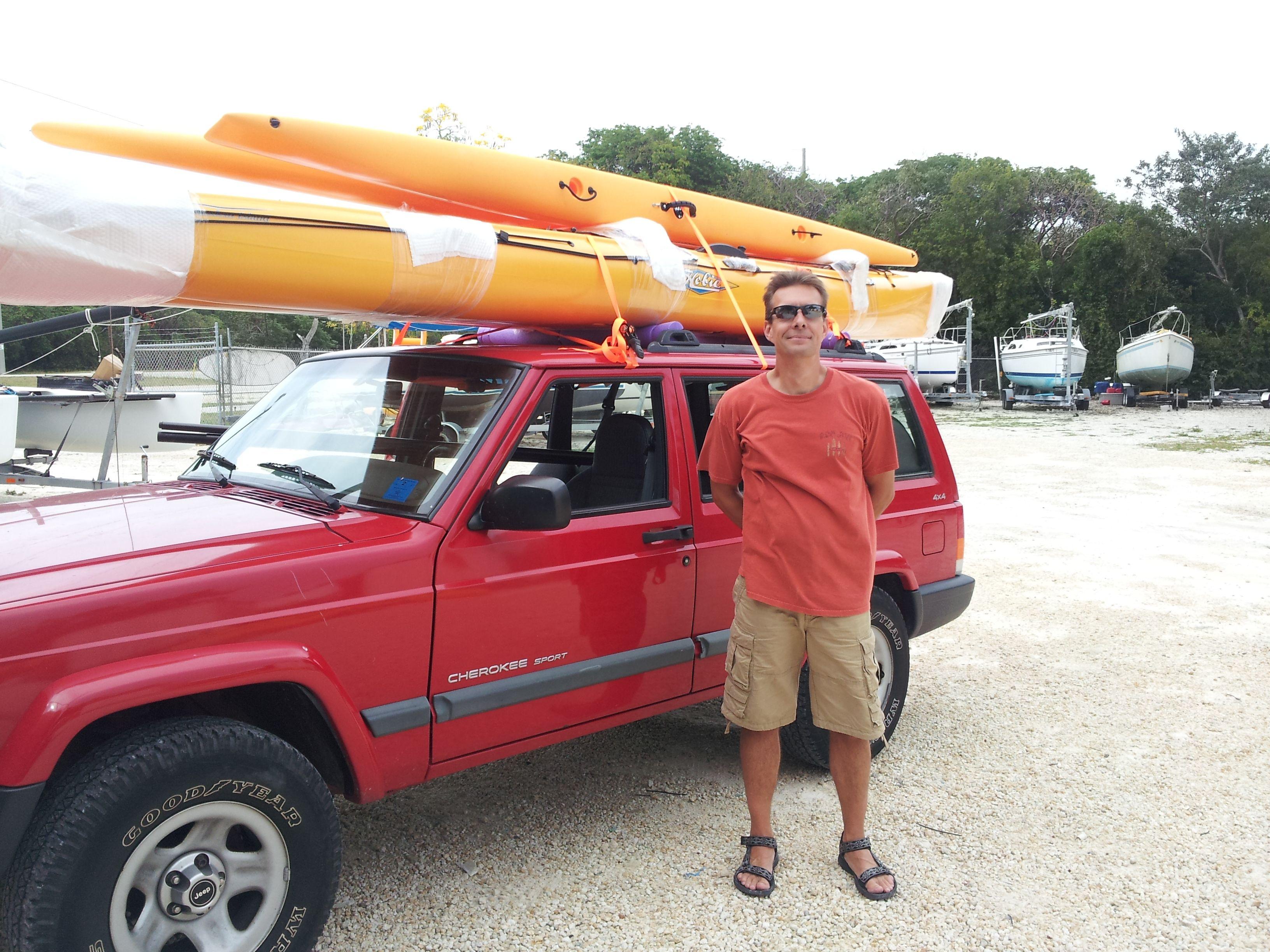 Car Topping A Hobie Island On A Cherokee Hobie Tandem Island Small Boats Water Sports